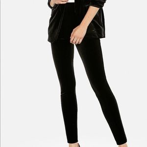 Express Mid Rise Stretch Black Velvet Leggings